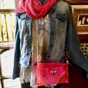 Hot Pink Transparent Clutch & Long Goldtone Chain